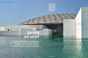 Der Louvre von Abu Dhabi zeigt sich nach außen flach gewölbt, wie ein Schildkrötenpanzer. Doch die Kuppel mit einem Durchmesser von 180 Metern ist lichtdurchlässig. Darunter inszenierte Architekt Jean Nouvel einen grandiosen Raum, der von Lichtstrahlen und erhabener Schönheit geprägt ist.